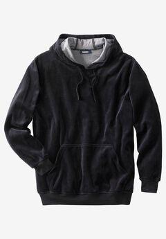 Velour Long-Sleeve Pullover Hoodie, BLACK