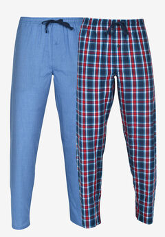 Hanes® 2-Pack Woven Lounge Pants, BLUE RED PLAID, hi-res