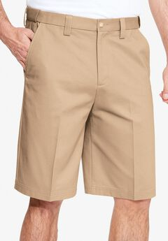 Classic Fit Wrinkle Free Expandable Waist Plain Front Shorts, DARK KHAKI, hi-res