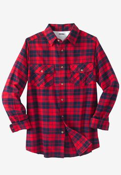 Long-Sleeve Plaid Flannel Shirt, RED PLAID