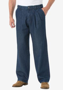 Relaxed Fit Comfort Waist Pleat-Front Expandable Jeans, INDIGO