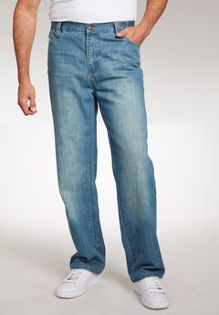 Relaxed Fit Side Elastic 5-Pocket Jeans by Liberty Blues®, LIGHT WASH