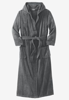 Terry Velour Hooded Maxi Robe, STEEL, hi-res
