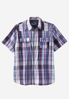 Summer Snap-Button Shirt by Liberty Blues®, NAVY PLAID, hi-res