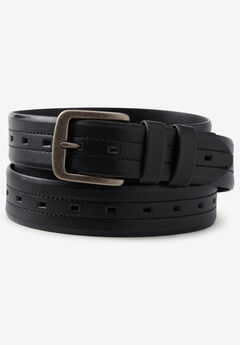 Updated Center Hole Casual Belt, BLACK, hi-res