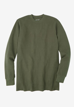 Heavyweight Thermal Crewneck Tee by Boulder Creek®, OLIVE, hi-res