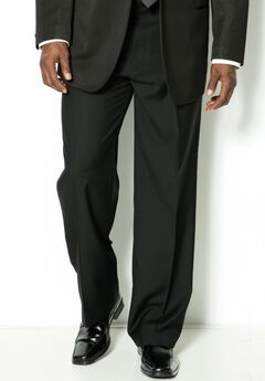 Plain Front Tuxedo Pants by KS Signature, BLACK, hi-res
