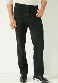 Loose Fit Side Elastic 5-Pocket Jeans by Liberty Blues®, BLACK