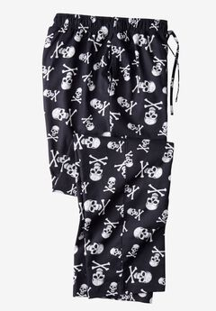 Flannel Novelty Pajama Pants, SKULLS, hi-res