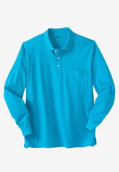 Long-Sleeve Piqué Polo Shirt ,