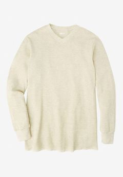 Heavyweight Thermal V-Neck Tee, HEATHER OATMEAL