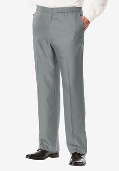 Easy-Care Classic Fit Elastic Waist Plain Front Dress Pants,