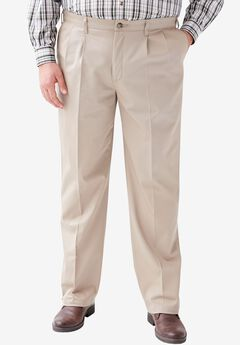 Relaxed Fit Pleat Front Pants by Lee®, MID KHAKI