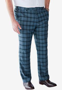 Easy-Care Classic Fit Expandable Waist Double-Pleat Front Dress Pants, SLATE BLUE WINDOW PANE