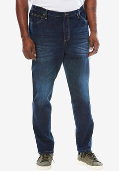 Relaxed Tapered Fit Side Elastic 5-Pocket Jeans by Liberty Blues®, MEDIUM BLUE, hi-res
