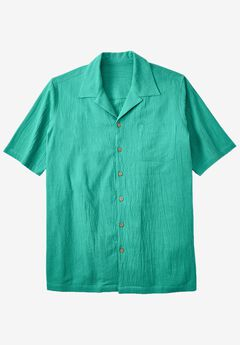 Gauze Cotton Camp Shirt, EMERALD, hi-res