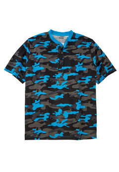 Shrink-Less™ Lightweight Henley Tee, ELECTRIC TURQUOISE CAMO, hi-res
