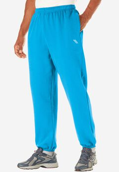 Wicking Fleece Elastic Cuff Pants by KS Sport™, ELECTRIC TURQUOISE