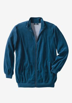 Velour Full-Zip Jacket, MIDNIGHT TEAL