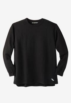 Wicking Fleece Crewneck Sweatshirt by KS Sport™, BLACK, hi-res