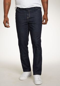 Relaxed Tapered Fit 5-Pocket Stretch Jeans by Liberty Blues®, DARK RINSE, hi-res