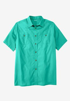 Short Sleeve Solid Sport Shirt, TIDAL GREEN