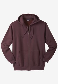 Fleece Zip-Front Hoodie, RAISIN