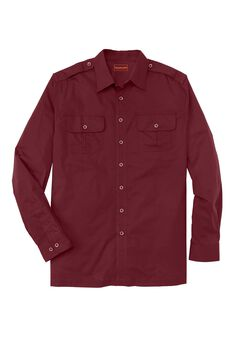 Long Sleeve Pilot Shirt by Boulder Creek®, RICH BURGUNDY, hi-res