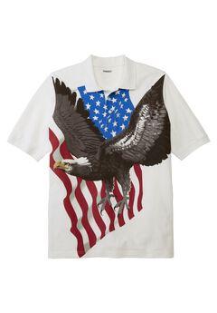 Patriotic Eagle Print Polo, EAGLE, hi-res