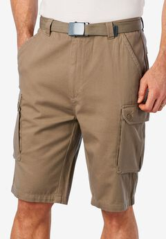 Cargo Shorts with Belt, DARK KHAKI, hi-res