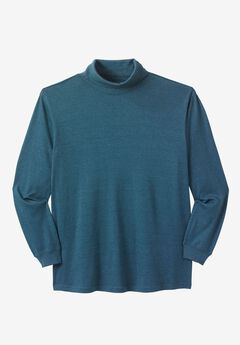Turtleneck Long-Sleeve Cotton Tee, HEATHER MIDNIGHT TEAL, hi-res