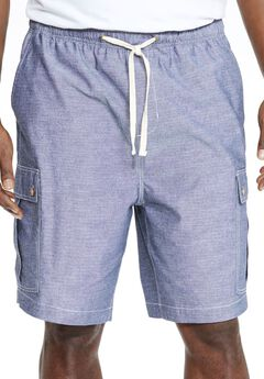 Chambray Cargo Shorts by KS Island™, INDIGO, hi-res