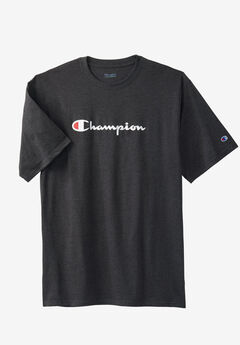 Script Logo Tee by Champion®, CHARCOAL, hi-res