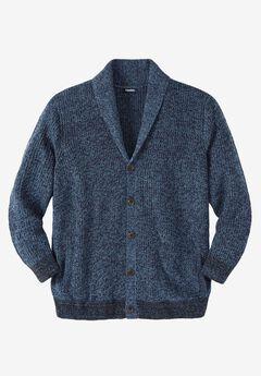 Shaker Knit Shawl-Collar Cardigan Sweater, NAVY MARL, hi-res
