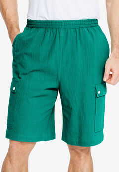Gauze Cotton Cargo Shorts with Inside Drawstring, EMERALD, hi-res