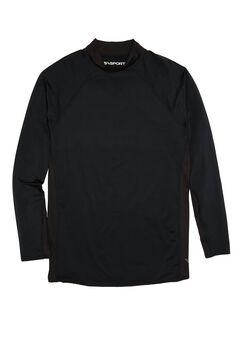 Mock Neck Base Layer Shirt by KS Sport™, BLACK, hi-res
