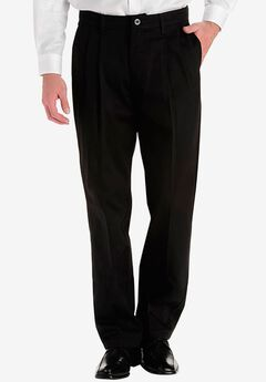 Lee® Custom Fit Relaxed Fit Pleated Front Pants , BLACK, hi-res