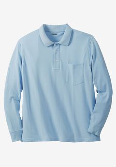 Long-Sleeve Piqué Polo Shirt , BLUE HARBOR, hi-res