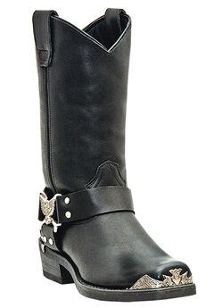 Dingo 12' Leather Eagle Harness Strap Boots, BLACK, hi-res