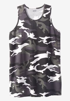 Longer-Length Lightweight Muscle Tank, BLACK CAMO, hi-res