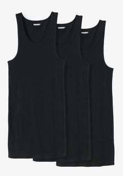 Cotton Tank Undershirt 3-Pack, BLACK, hi-res