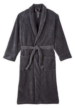 Hanes® Plush Fleece Robe, CHARCOAL, hi-res