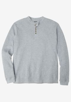 Waffle Knit Thermal Henley Tee, HEATHER GREY, hi-res