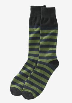 Novelty Dress Socks, GREEN STRIPE