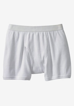 Color Cotton Boxer Briefs by Kings' Court®, WHITE, hi-res