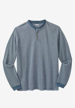 Waffle Knit Thermal Henley Tee, SLATE BLUE MARL