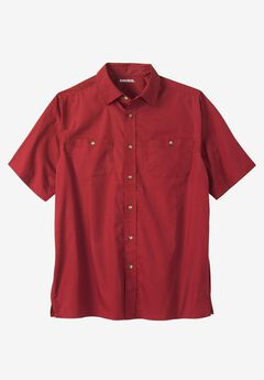Short Sleeve Solid Sport Shirt, RICH BURGUNDY
