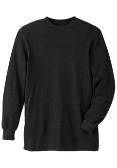 Heavyweight Thermal Crewneck Tee, BLACK