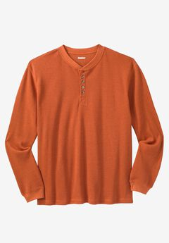 Waffle Knit Thermal Henley Tee, HEATHER DARK ORANGE