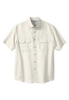 Off-Shore Short Sleeve Sport Shirt by Boulder Creek®, STONE, hi-res
